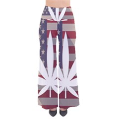Flag American Star Blue Line White Red Marijuana Leaf Pants by Mariart