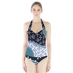 Decoboom Custom Pickguard Engraved Eames Dots Halter Swimsuit by Mariart