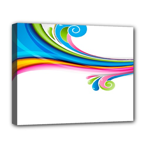 Colored Lines Rainbow Deluxe Canvas 20  X 16   by Mariart
