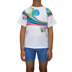 Colored Lines Rainbow Kids  Short Sleeve Swimwear by Mariart