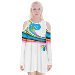 Colored Lines Rainbow Velvet Long Sleeve Shoulder Cutout Dress by Mariart