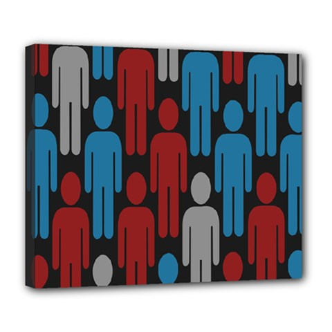 Human Man People Red Blue Grey Black Deluxe Canvas 24  X 20   by Mariart