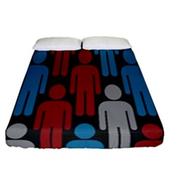 Human Man People Red Blue Grey Black Fitted Sheet (queen Size) by Mariart