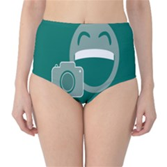 Laughs Funny Photo Contest Smile Face Mask High-waist Bikini Bottoms by Mariart