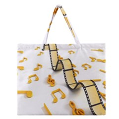 Isolated Three Dimensional Negative Roll Musical Notes Movie Zipper Large Tote Bag by Mariart