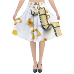 Isolated Three Dimensional Negative Roll Musical Notes Movie Flared Midi Skirt by Mariart
