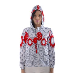 Iron Chain White Red Hooded Wind Breaker (women) by Mariart