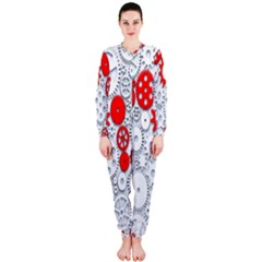 Iron Chain White Red Onepiece Jumpsuit (ladies)