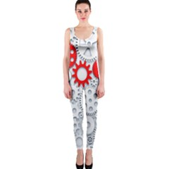 Iron Chain White Red Onepiece Catsuit by Mariart