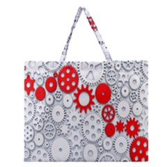 Iron Chain White Red Zipper Large Tote Bag by Mariart