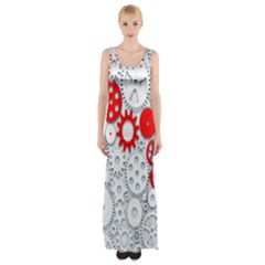 Iron Chain White Red Maxi Thigh Split Dress by Mariart
