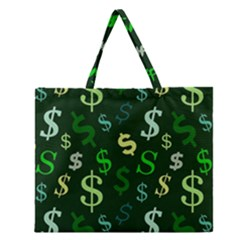 Money Us Dollar Green Zipper Large Tote Bag by Mariart