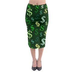 Money Us Dollar Green Midi Pencil Skirt by Mariart
