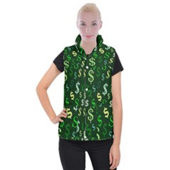Money Us Dollar Green Women s Button Up Puffer Vest by Mariart