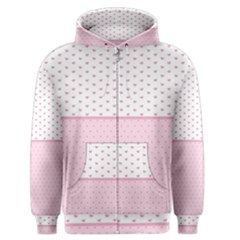 Love Polka Dot White Pink Line Men s Zipper Hoodie by Mariart