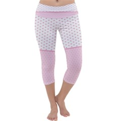 Love Polka Dot White Pink Line Capri Yoga Leggings by Mariart