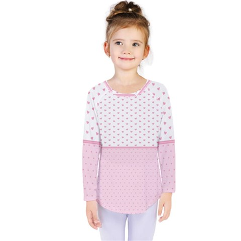 Love Polka Dot White Pink Line Kids  Long Sleeve Tee by Mariart