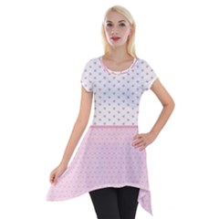 Love Polka Dot White Pink Line Short Sleeve Side Drop Tunic by Mariart