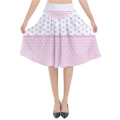 Love Polka Dot White Pink Line Flared Midi Skirt