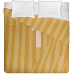 Number 1 Line Vertical Yellow Pink Orange Wave Chevron Duvet Cover Double Side (king Size) by Mariart