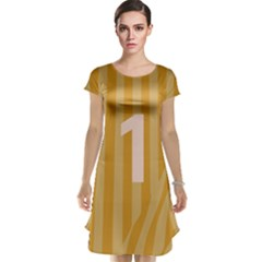 Number 1 Line Vertical Yellow Pink Orange Wave Chevron Cap Sleeve Nightdress