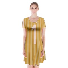 Number 1 Line Vertical Yellow Pink Orange Wave Chevron Short Sleeve V Neck Flare Dress by Mariart