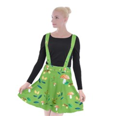 Mushrooms Flower Leaf Tulip Suspender Skater Skirt