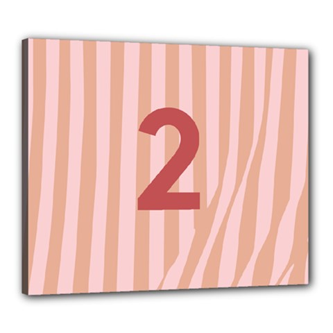 Number 2 Line Vertical Red Pink Wave Chevron Canvas 24  X 20  by Mariart
