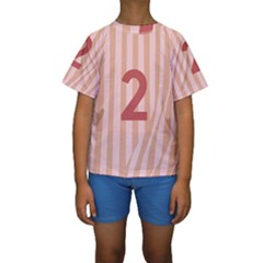Number 2 Line Vertical Red Pink Wave Chevron Kids  Short Sleeve Swimwear by Mariart