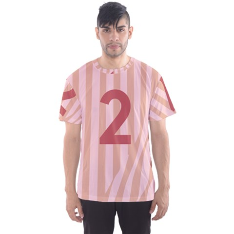 Number 2 Line Vertical Red Pink Wave Chevron Men s Sport Mesh Tee by Mariart