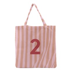 Number 2 Line Vertical Red Pink Wave Chevron Grocery Tote Bag by Mariart