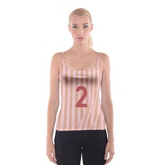 Number 2 Line Vertical Red Pink Wave Chevron Spaghetti Strap Top