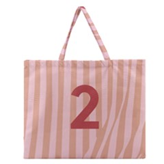 Number 2 Line Vertical Red Pink Wave Chevron Zipper Large Tote Bag by Mariart