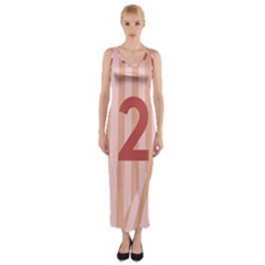 Number 2 Line Vertical Red Pink Wave Chevron Fitted Maxi Dress
