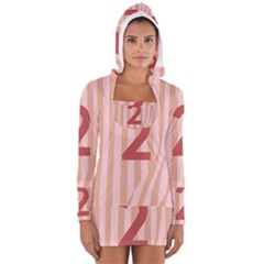 Number 2 Line Vertical Red Pink Wave Chevron Women s Long Sleeve Hooded T-shirt by Mariart