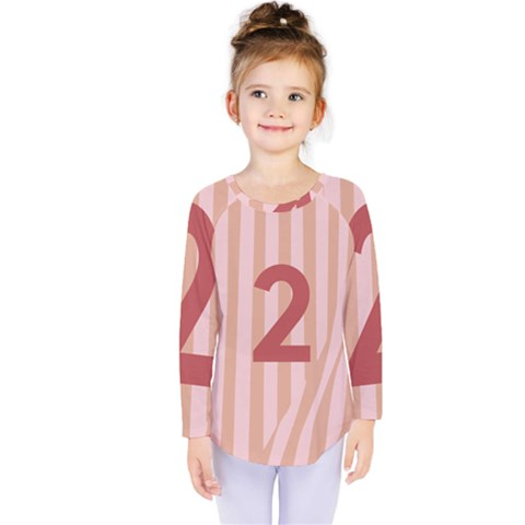 Number 2 Line Vertical Red Pink Wave Chevron Kids  Long Sleeve Tee by Mariart