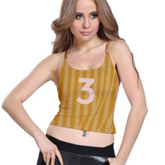 Number 3 Line Vertical Yellow Pink Orange Wave Chevron Spaghetti Strap Bra Top