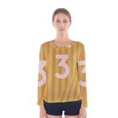 Number 3 Line Vertical Yellow Pink Orange Wave Chevron Women s Long Sleeve Tee by Mariart