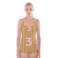 Number 3 Line Vertical Yellow Pink Orange Wave Chevron Boyleg Halter Swimsuit  by Mariart