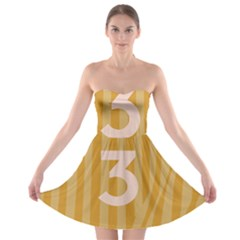 Number 3 Line Vertical Yellow Pink Orange Wave Chevron Strapless Bra Top Dress by Mariart