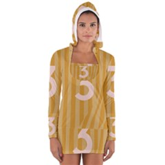 Number 3 Line Vertical Yellow Pink Orange Wave Chevron Women s Long Sleeve Hooded T-shirt