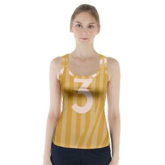 Number 3 Line Vertical Yellow Pink Orange Wave Chevron Racer Back Sports Top
