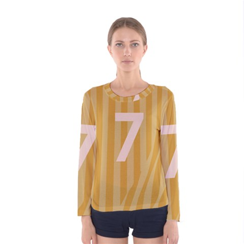 Number 7 Line Vertical Yellow Pink Orange Wave Chevron Women s Long Sleeve Tee by Mariart