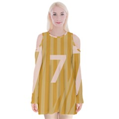 Number 7 Line Vertical Yellow Pink Orange Wave Chevron Velvet Long Sleeve Shoulder Cutout Dress by Mariart