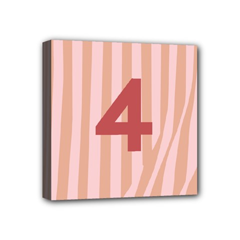 Number 4 Line Vertical Red Pink Wave Chevron Mini Canvas 4  X 4  by Mariart