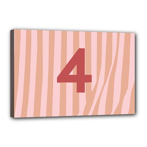 Number 4 Line Vertical Red Pink Wave Chevron Canvas 18  X 12  by Mariart