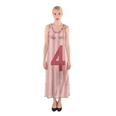 Number 4 Line Vertical Red Pink Wave Chevron Sleeveless Maxi Dress