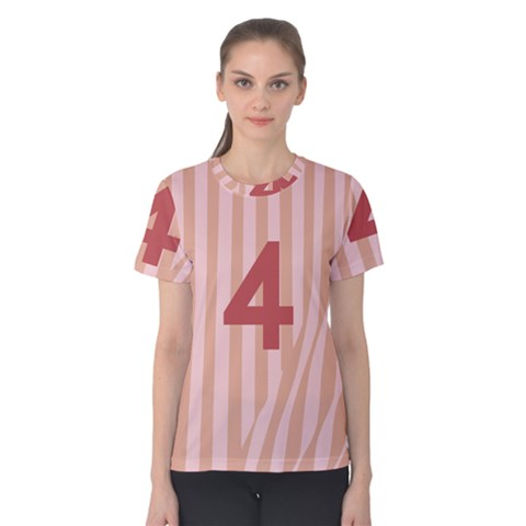 Number 4 Line Vertical Red Pink Wave Chevron Women s Cotton Tee by Mariart