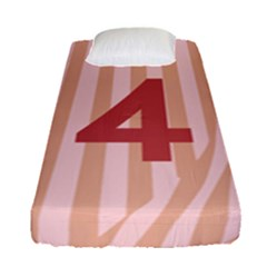 Number 4 Line Vertical Red Pink Wave Chevron Fitted Sheet (single Size) by Mariart