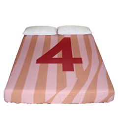 Number 4 Line Vertical Red Pink Wave Chevron Fitted Sheet (queen Size) by Mariart